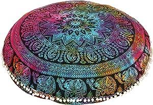 "Shubhlaxmifashion 32"" Elephant MANDALAMULTI TIE DYE Floor Pillow Cushion Seating Throw Cover Mandala Hippie Decorative Bohemian Boho Ottoman Poufs, Pom Pom Pillow Cases,"