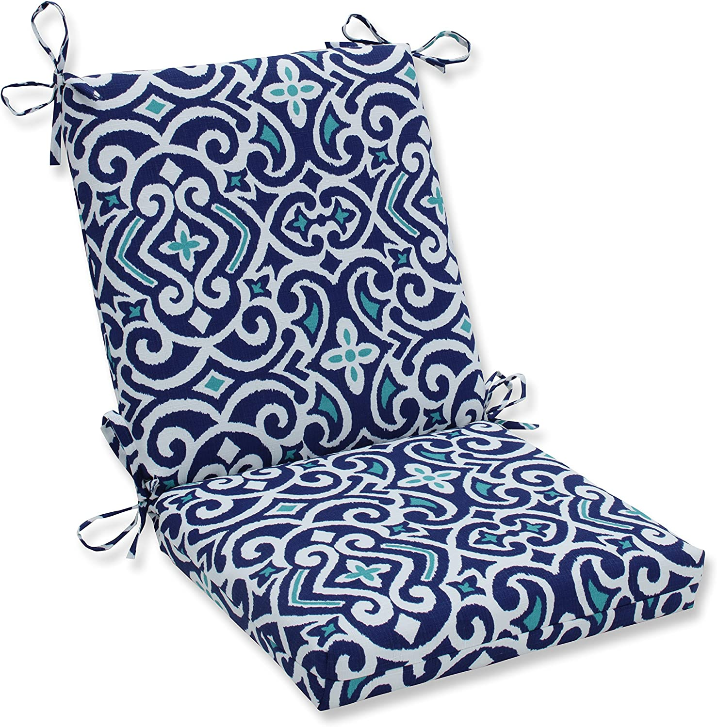 Pillow Perfect Outdoor Indoor New Damask Marine Squared Corners Chair Cushion