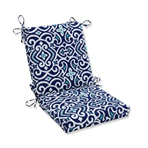 Pillow Perfect Outdoor | Indoor New Damask Marine Squared Corners Chair Cushion