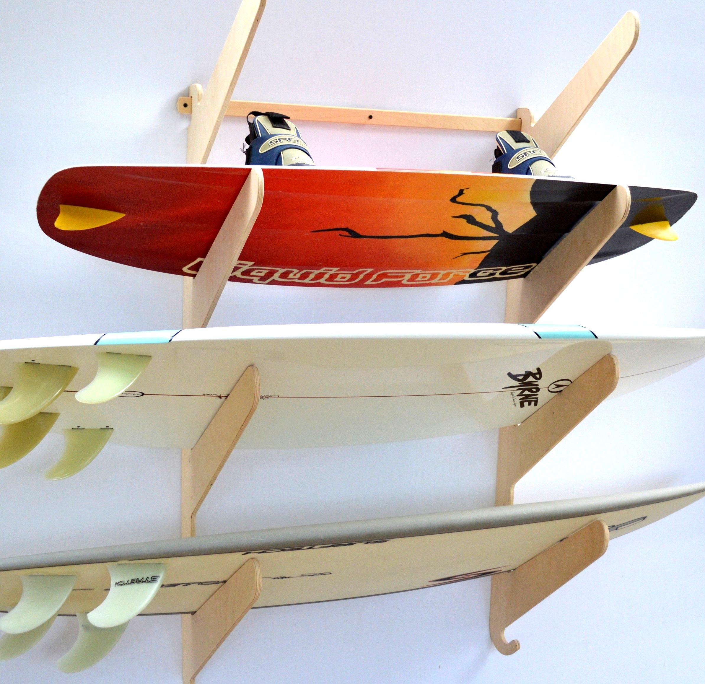 Surfboard Wakeboard Hanging Wall Rack -- 4 Boards