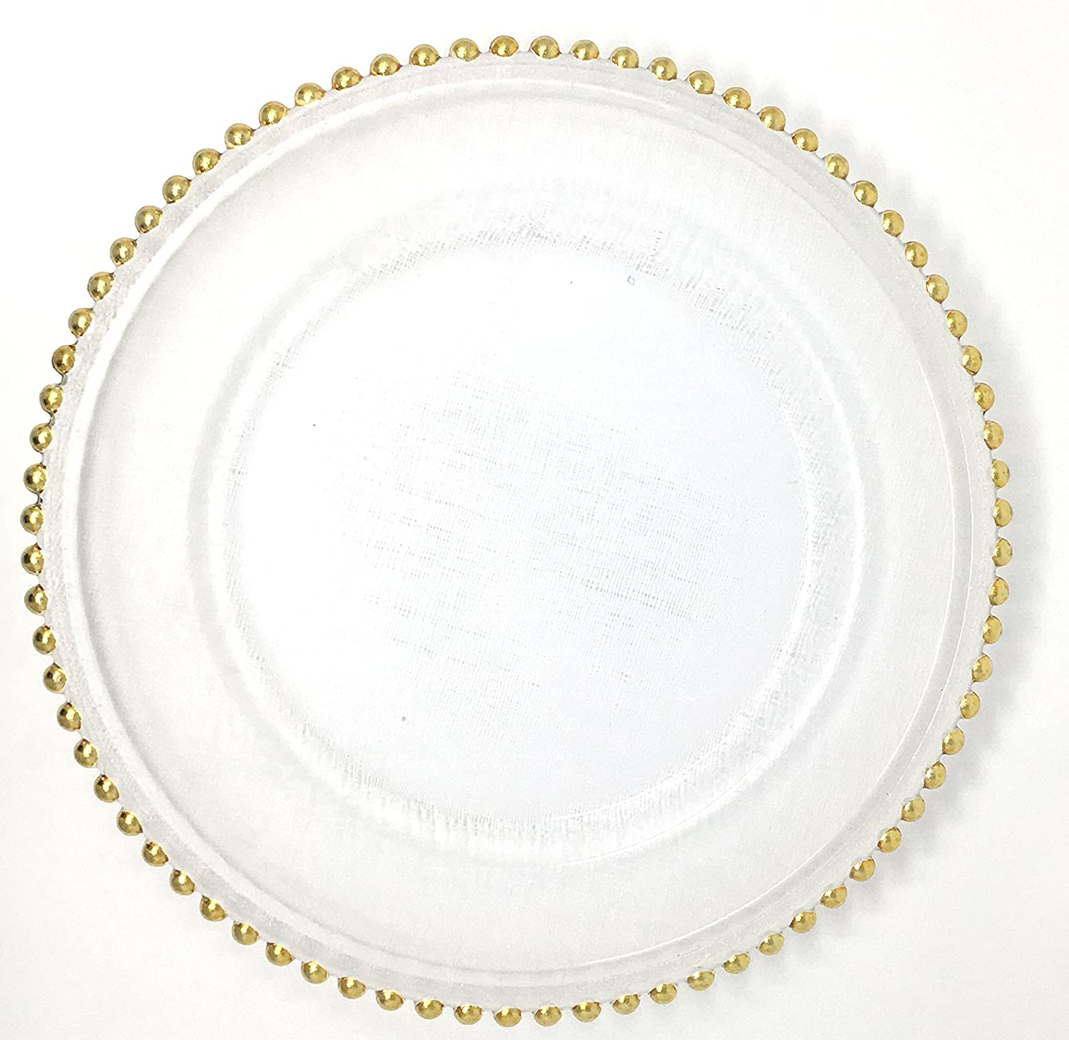 Spectacular Glass Dinnerware Formal 13-Inch Gold Beaded Rim Clear Glass Charger Plate Wedding Party Dinner Modern Appeal Glass Plates (4) Unique Imports