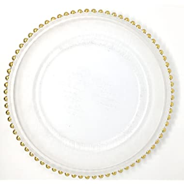 Spectacular Glass Dinnerware Formal 13-Inch Gold Beaded Rim Clear Glass Charger Plate Wedding Party Dinner Modern Appeal Glass Plates (8)
