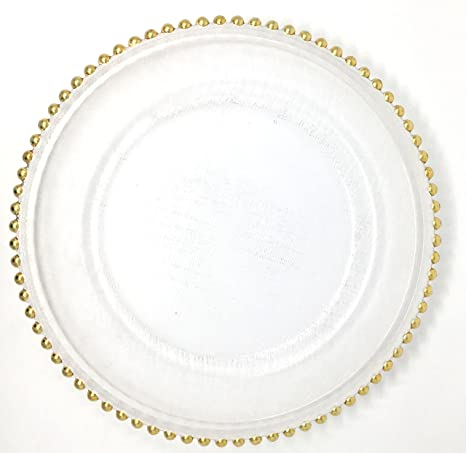 Lovely Glass Dinnerware Formal 13-Inch Beaded Rim Clear Glass Charger Plate Wedding Receptions Anniversary  sc 1 st  Amazon.com & Amazon.com | Lovely Glass Dinnerware Formal 13-Inch Beaded Rim Clear ...