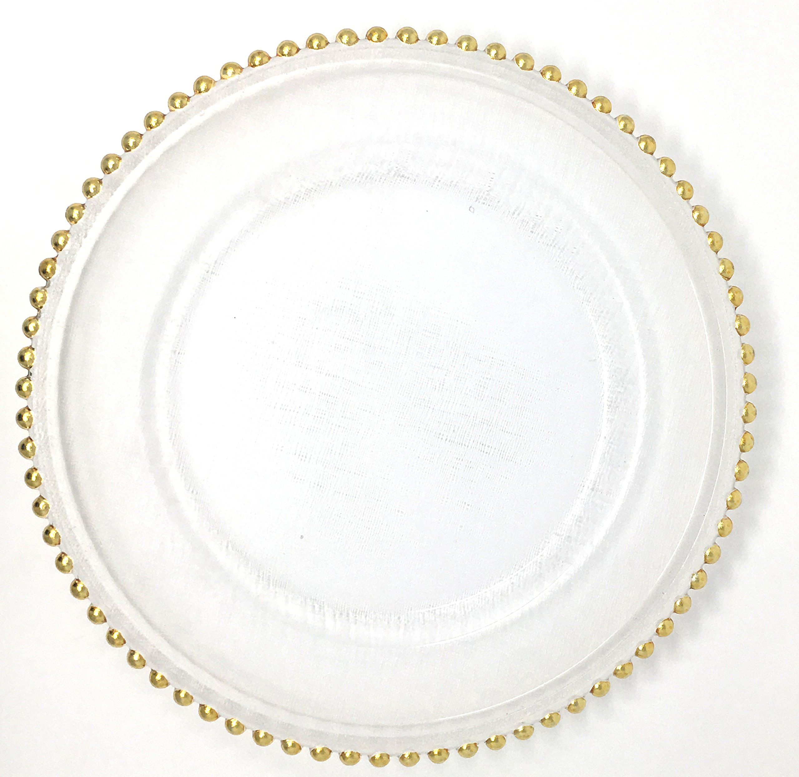 Spectacular Glass Dinnerware Formal 13-Inch Gold Beaded Rim Clear Glass Charger Plate Wedding Party Dinner Modern Appeal Glass Plates (16)