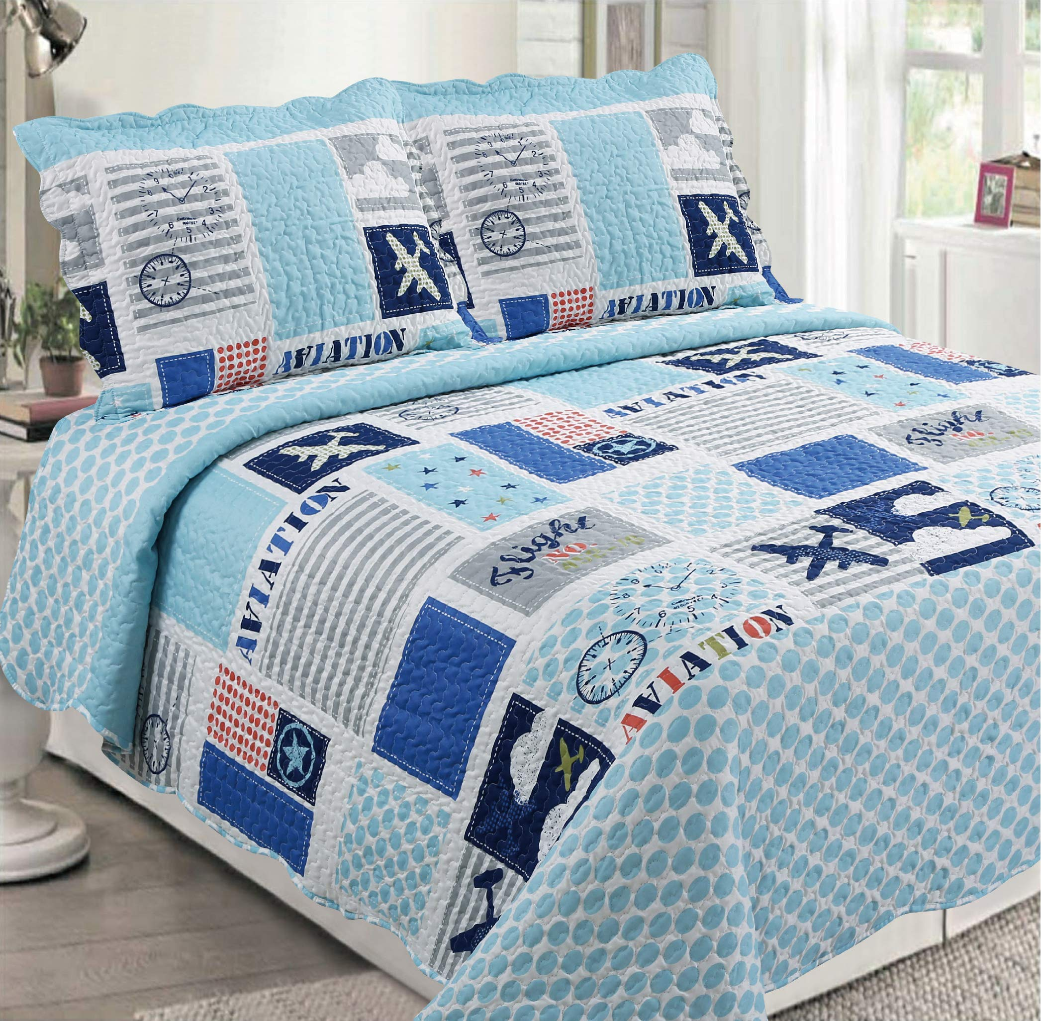 Golden Linens 3 pcs (1 Quilt, 2 Pillow Cases) Bedspread Kids Quilt Multicolor White, Blue, Light Blue Grey Aviation, Military Airplane# Full Airplane (99)