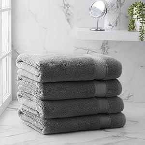Welhome Hudson 100% Pure Organic Cotton 4 Piece Bath Towels   Charcoal   Eco Friendly   Plush   Durable & Absorbent   Hotel & Spa Decorative Bathroom Towel   651 GSM   Machine Washable