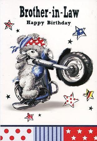 Brother In Law Happy Birthday Motorbike Teddy Biker Birthday Card