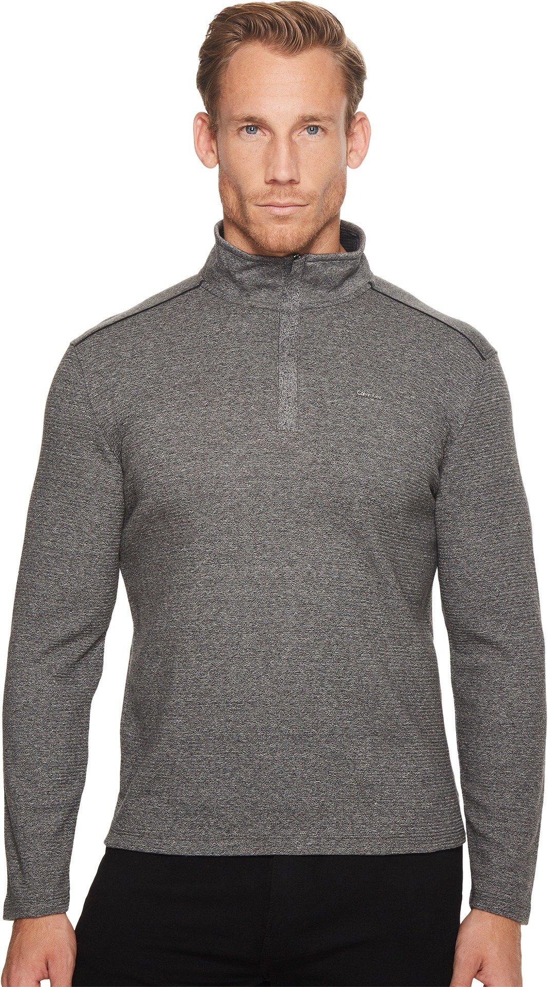 Calvin Klein Men's Long Sleeve Jacquard 1/4 Zip Knit, Marled Black, Large
