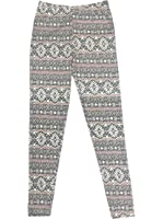 Just One Girl's Opaque Brushed Back Soft Winter Fair Isle Print Leggings