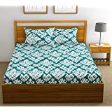 FabTheory Damask 104 TC 100% Cotton Double Bedsheet with 2 Pillow Covers, Aqua Blue