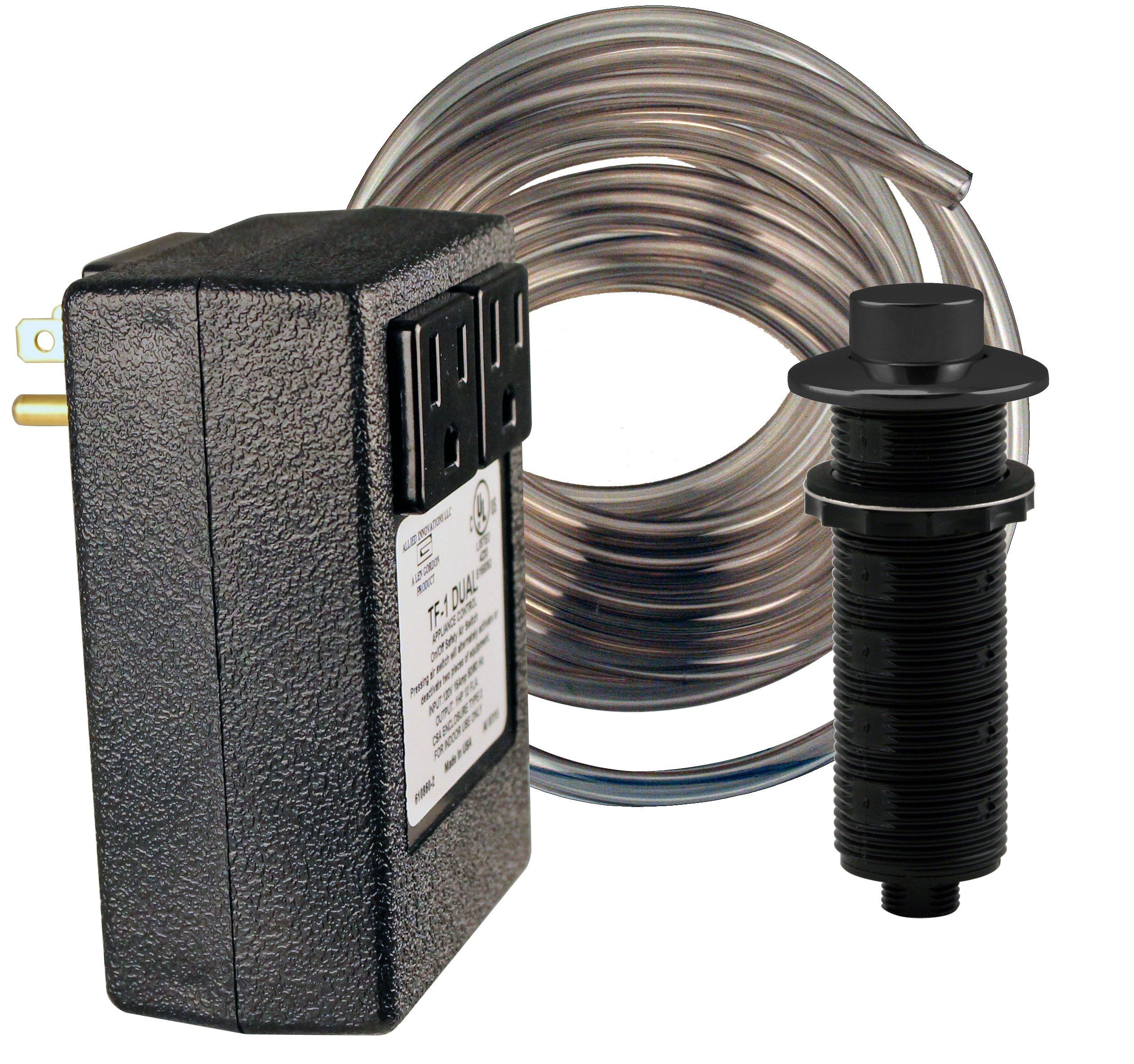 Westbrass RASB-2RB3-62 Raised Button Sink Top Disposal Air Switch & Dual Outlet Control Box, Matte Black