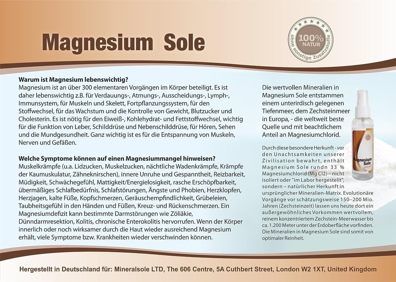 Magnesio Sole - Magnesio de cloruro aceite - Original natursole de ZECH piedra Mar (100 ml): Amazon.es: Salud y cuidado personal