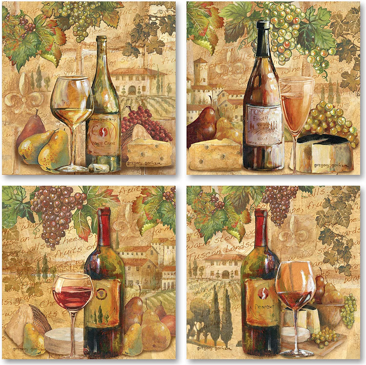 Tuscan Harvest; Rustic Italian Wine Cheese Grapes Vineyard; Four 12x12in Poster Prints