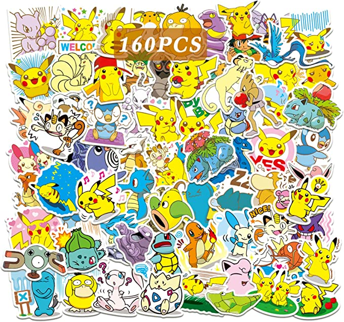 Color : 50pcs JKMQA dx Toys 50PCS Kawaii Cartoon Pikachu Stickers Anime Pokemon Waterproof Guitar Skateboard Laptop Luggage Car Cute Stikers Girl Kids Toy