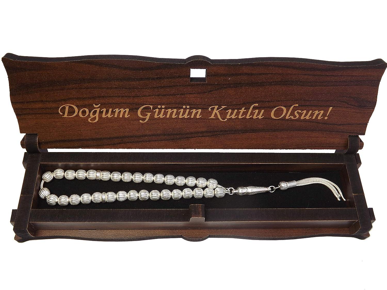 G/ök-T/ürk 925 Silber Tesbih Gebetskette Alles Gute zum Geburtstag auf T/ürkisch Box Schatulle aus Holz Handgemacht mit Gravur Dogum G/ün/ün Kutlu Olsun