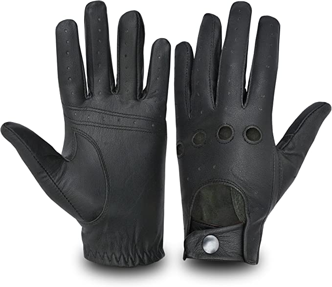 Leather Motorbike Car Driving Gloves Classic Style Vintage Retro Dress Fashion