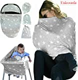 Nursing Breastfeeding Cover Scarf | Baby Car Seat Cover Canopy | Highchair, Shopping Cart, Stroller, Carseat Covers - Best Multi-Use Infinity Stretchy Shawl For Girls and Boys