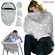 Nursing Breastfeeding Cover Scarf | Baby Car Seat Canopy | Pouch & Gift Pack Set | Highchair, Shopping Cart, Stroller, Carseat Covers - Best Multi-Use Infinity Stretchy Shawl For Girls and Boys