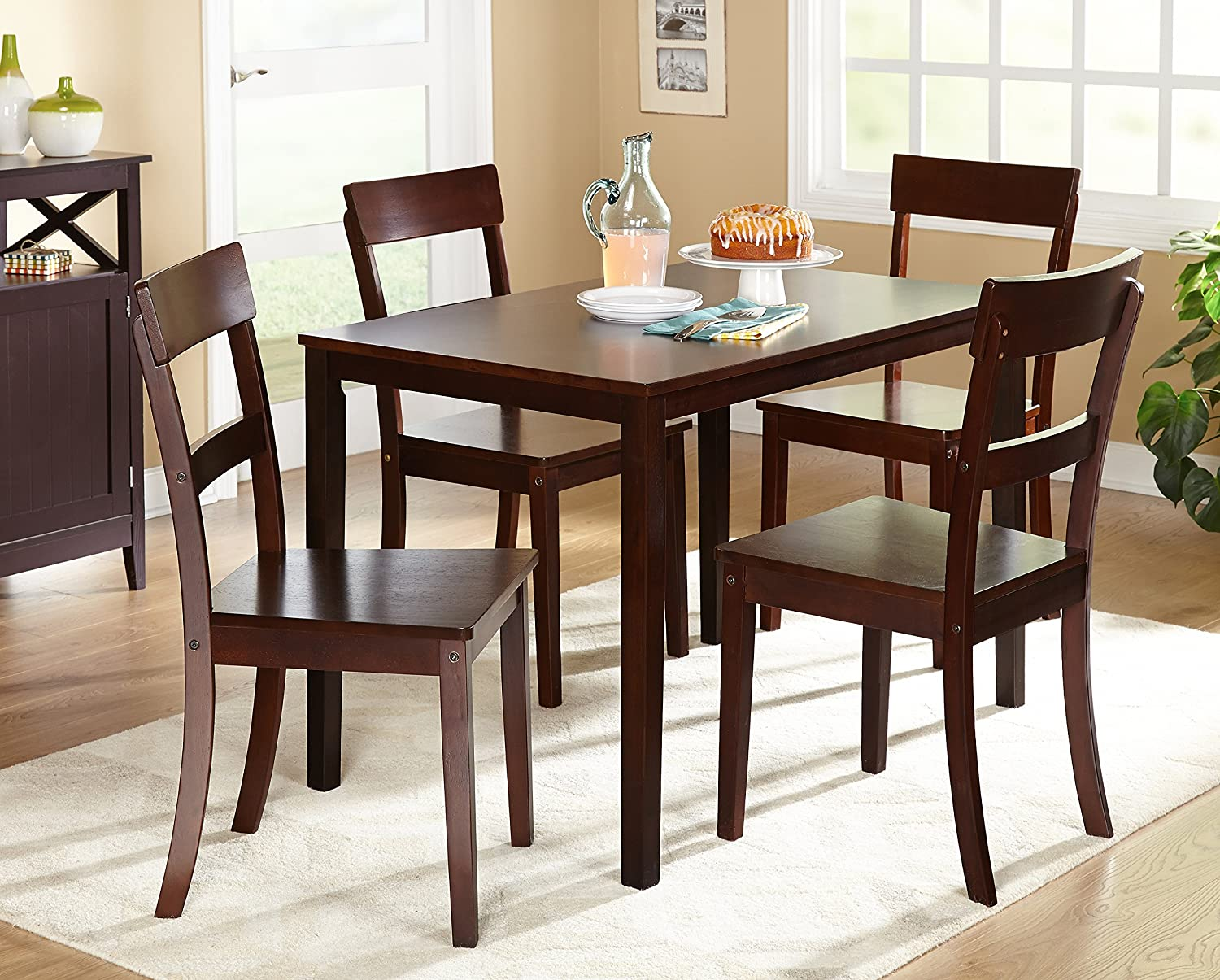 Amazon.com: Target Marketing Systems Ian Collection 5 Piece Indoor Kitchen Dining  Set With 1 Dining Table, 4 Chairs, Espresso: Kitchen U0026 Dining