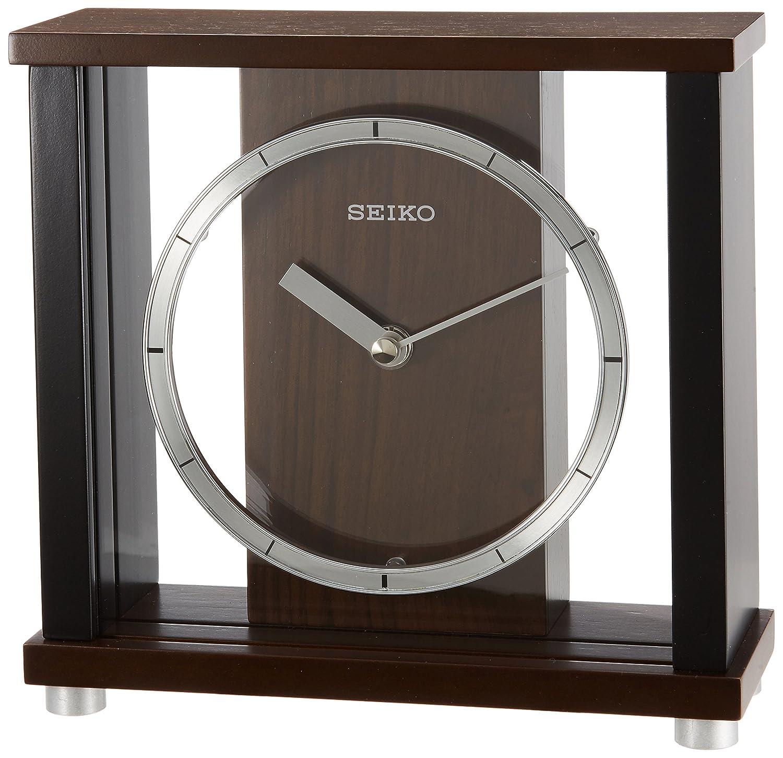 セイコー クロック 置き時計 アナログ 木枠 濃茶 木地 BZ356B SEIKO B00AA45YGG
