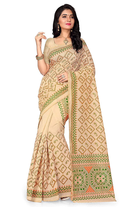 S Kiran's Women's Assamese Art Cotton Khadi Printed Mekhela Chador Saree (Khadi2964Green, Free Size)