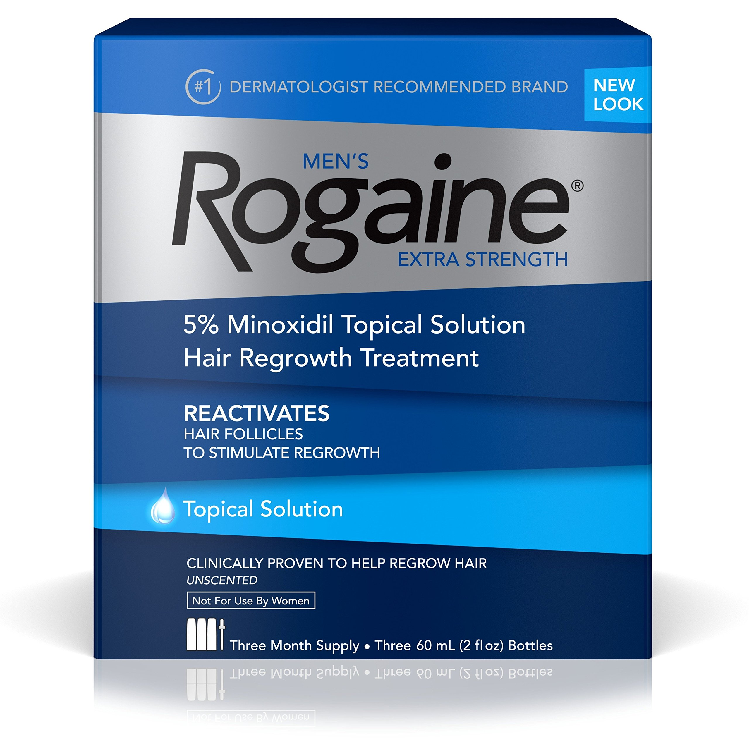 Men's Rogaine Extra Strength 5% Minoxidil Topical Solution for Hair Loss and Hair Regrowth, Topical Treatment for Thinning Hair, 3-Month Supply by Rogaine