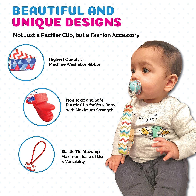 Bright floral printed baby drool bib with pacifier loop pacifier leash