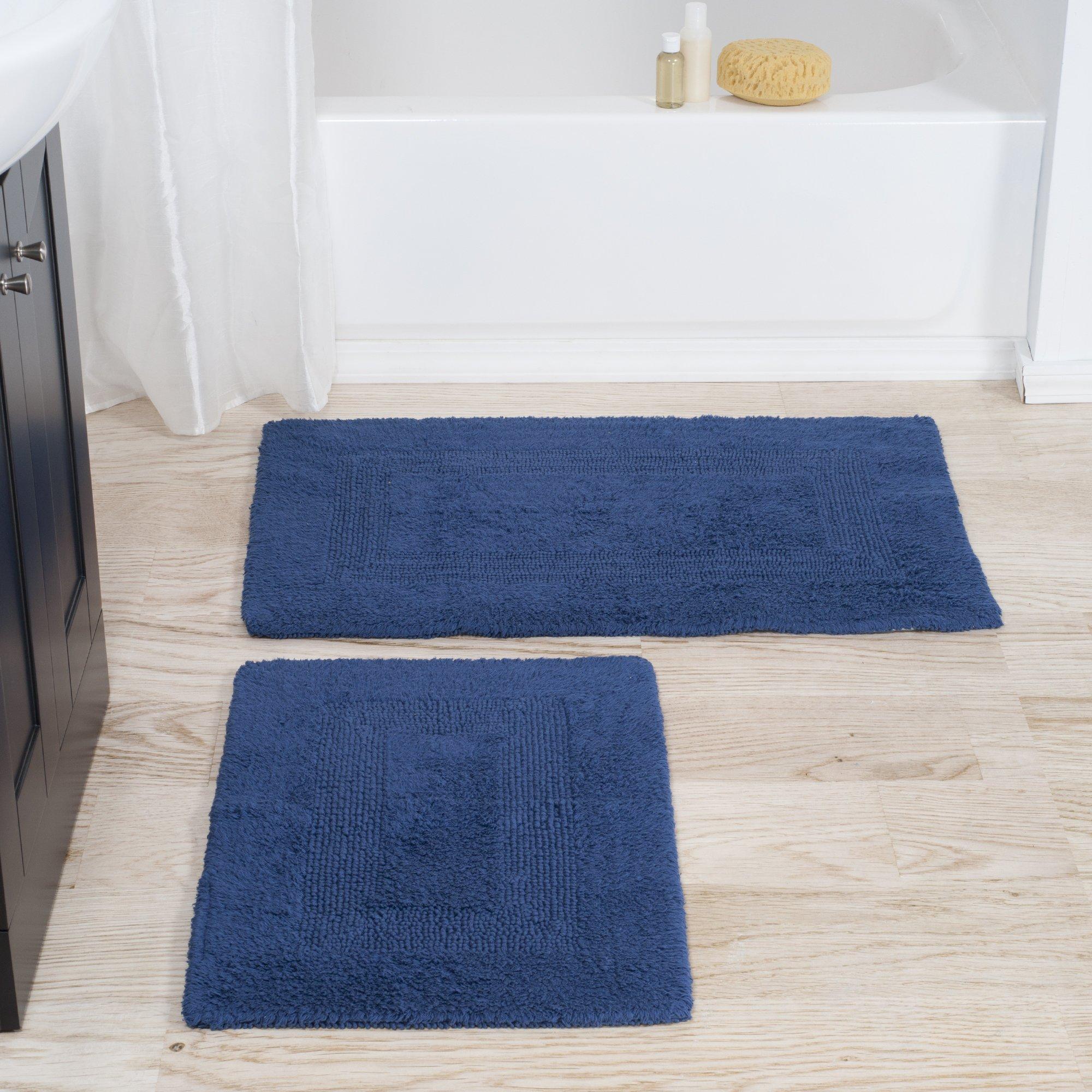 Lavish Home Cotton Bath Mat Set- 2 Piece 100 Percent Cotton Mats- Reversible, Soft, Absorbent and Machine Washable Bathroom Rugs By (Navy)