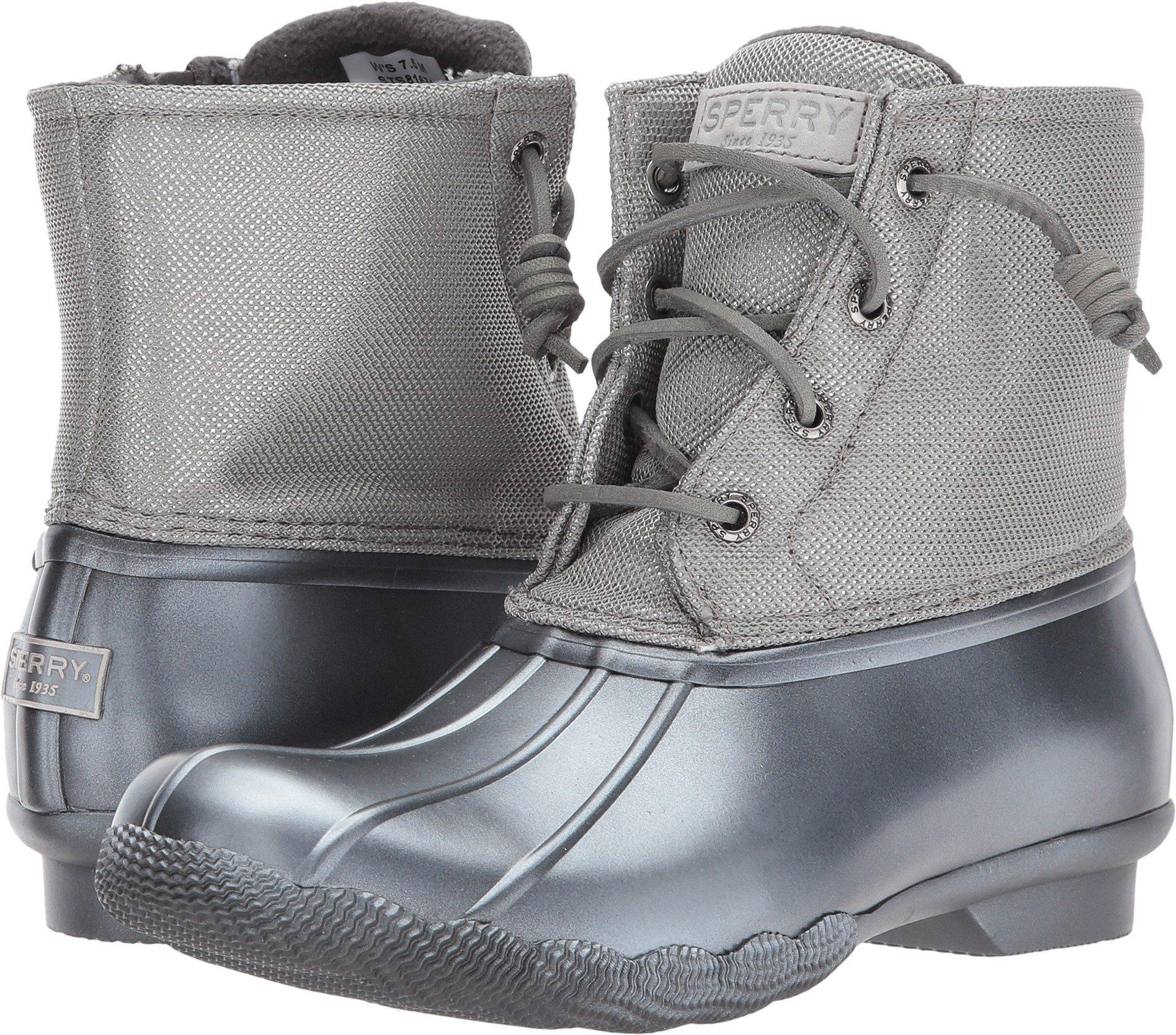 Sperry Top-Sider Women's Saltwater Pearlized Rain Boot, Gunmetal, 6 Medium US