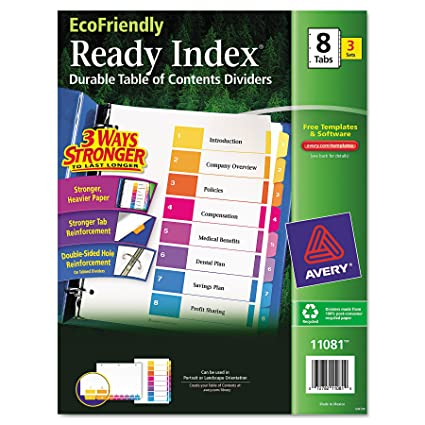 Amazon Avery Ecofriendly Ready Index Table Of Contents