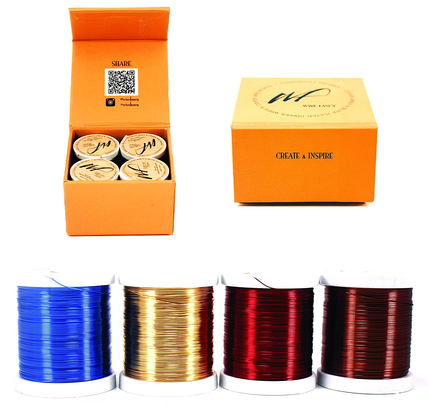 28 Gauge Tarnish Resistant Silver Plated Copper and Copper Wire Set of 4 spools. Thin Wire for Wrapping Jewelry Making Beading Floral Colored DIY Artistic Craft Wire kit (WF Color Set 1, 0.30 mm) Mersk