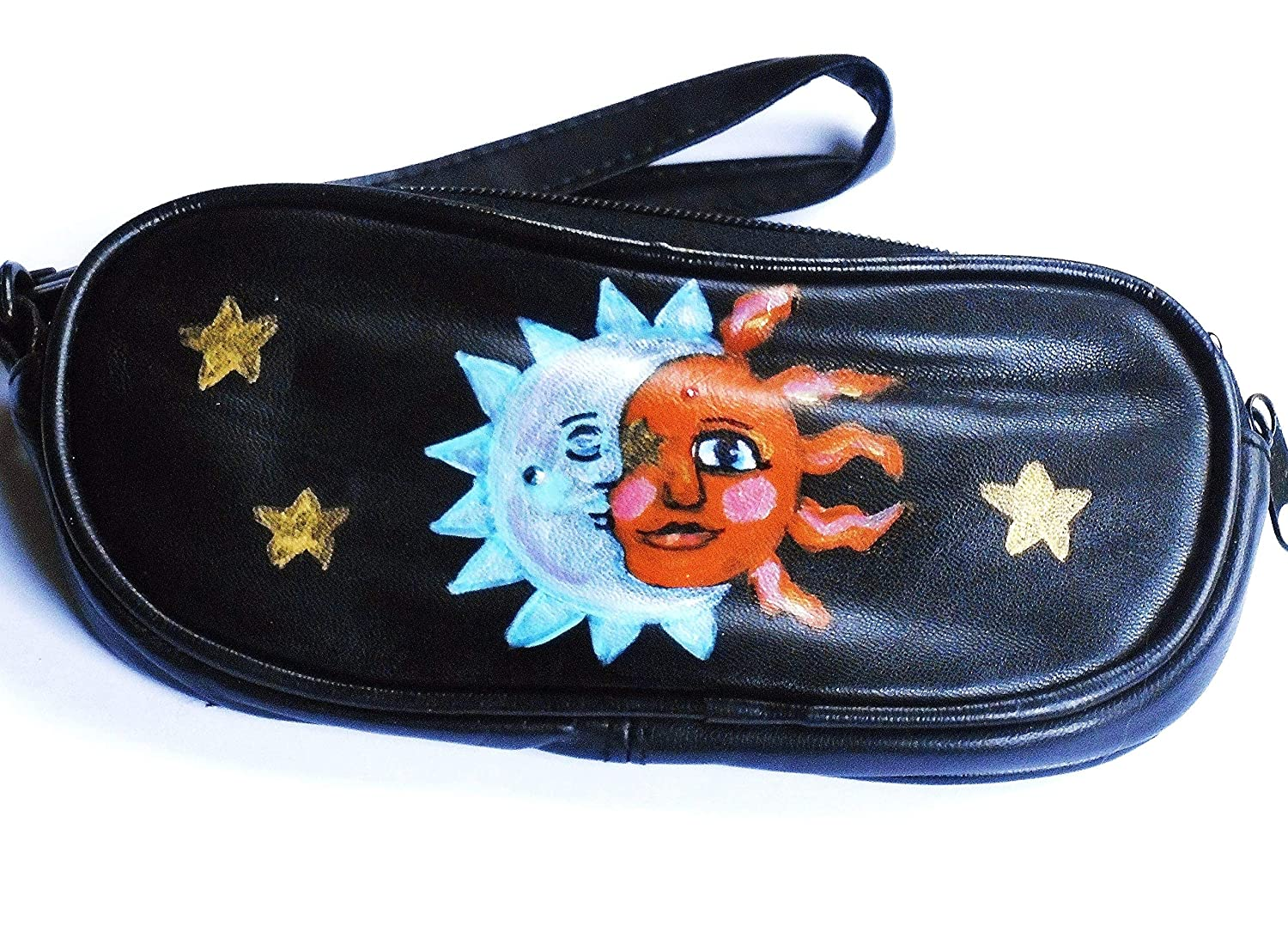 Celestial Boho Sun Moon Stars Black Leather Wristlet Eyeglass Sunglass Case Bohemian Accessories for Women