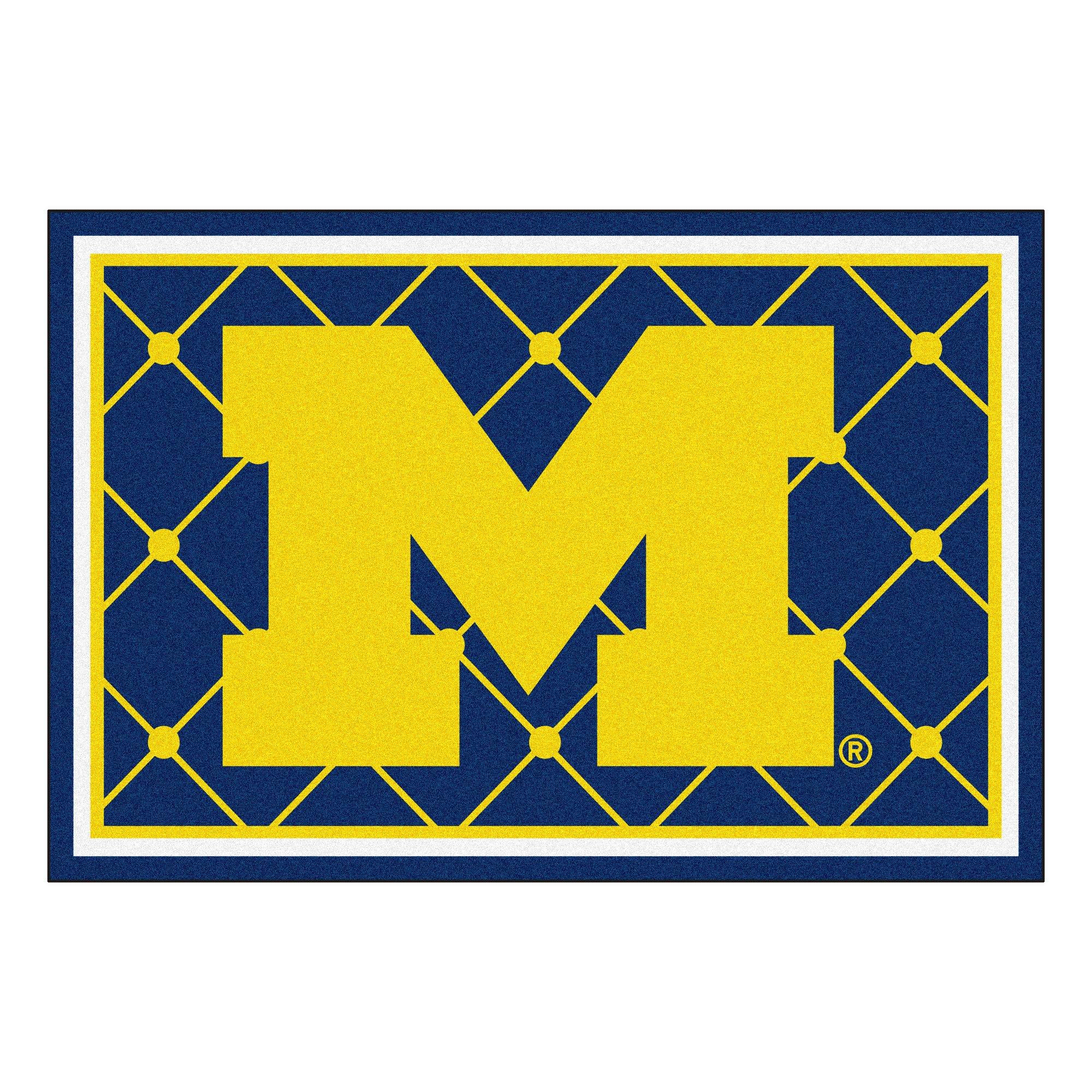 FANMATS NCAA University of Michigan Wolverines Nylon Face 5X8 Plush Rug by FANMATS (Image #1)