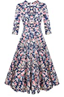 ACEVOG 50s Hepburn Style Vintage Long Sleeve Floral Party Cocktail Evening Dress, XX-Large, 3/4 Sleeve Floral Blue