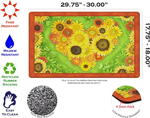 Toland Home Garden Sunflower Heart 18 by 30 Inch Decorative Flower Floor Mat Colorful Floral Doormat
