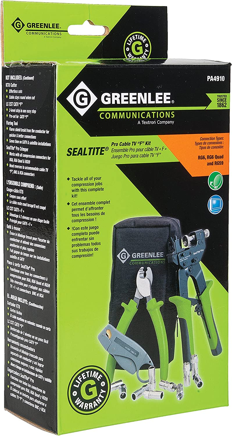 "Greenlee Communications 4910 SealTite Pro Compression Cable TV /""F/"" Kit wi th KT"