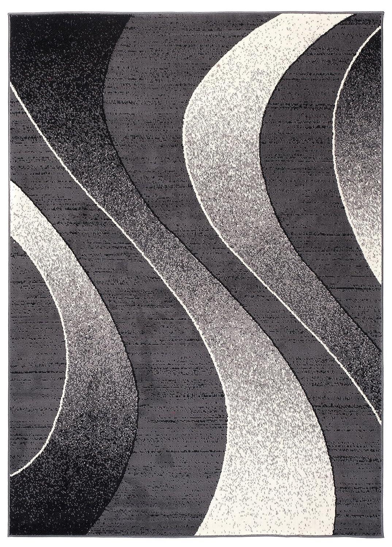 TAPISO Tappeto Salotto Moderno – Colore Grigio Design Ondulato – Prezzo Economico 120 x 170 cm