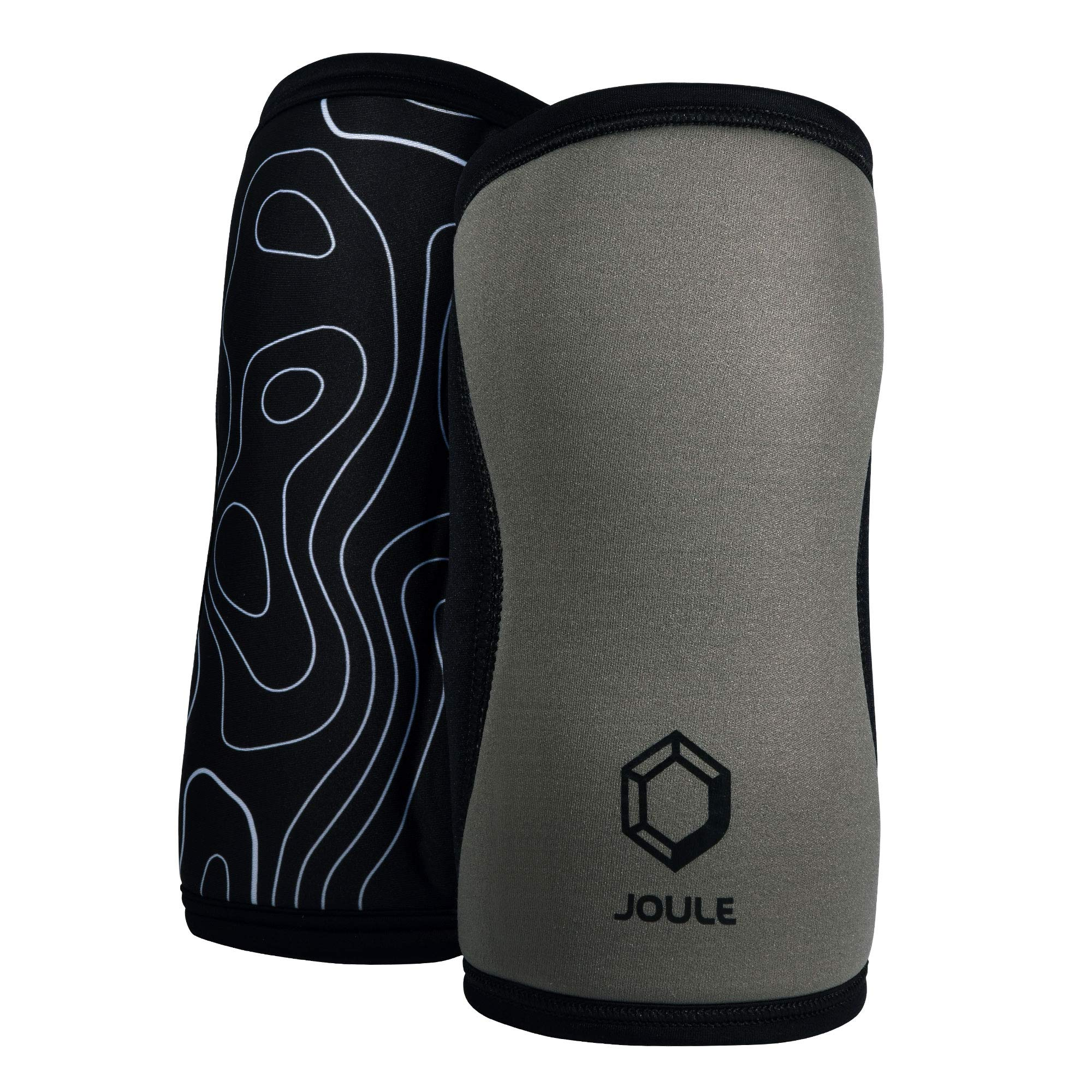 JOULE Active Reversible Knee Sleeve - 7mm Pair of 2 Neoprene Sleeves with Compression for Weightlifting, Powerlifting, and Crossfit - (Gray/Black, Small)