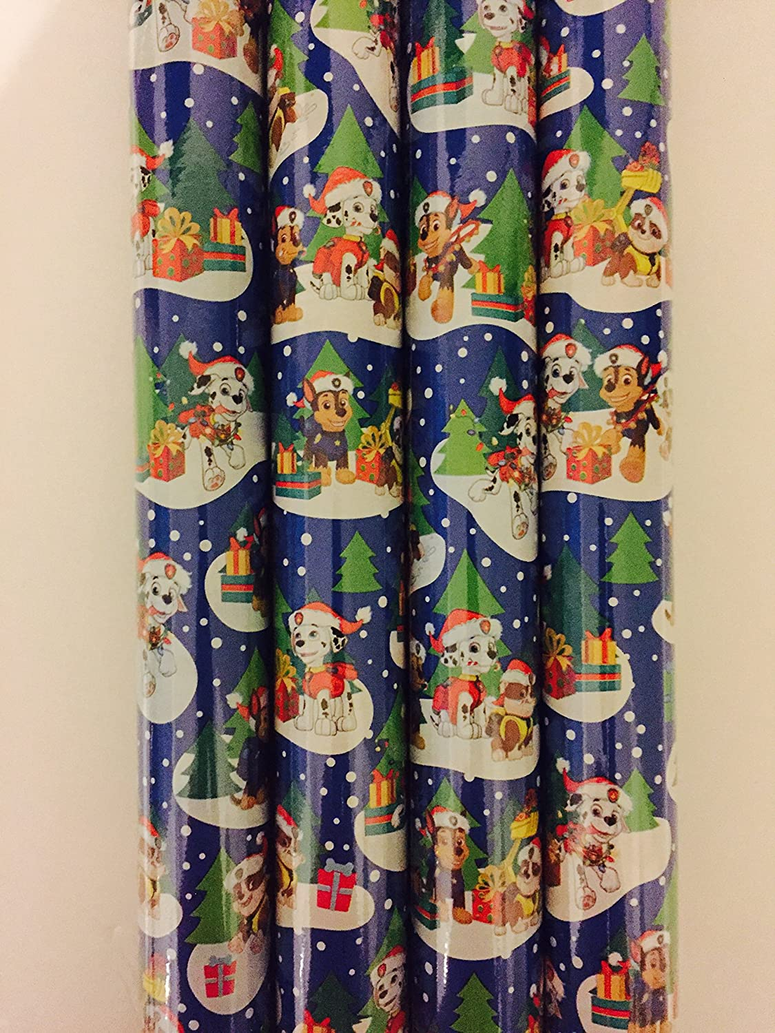 Gift Wrap Paw Patrol Blue Holiday Themed Wrapping Paper 1 Roll 20 Sq Feet
