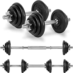 JLL 20kg Cast Iron Dumbbell/Barbell Set 2018, 4x 0.5kg, 4x 1.25kg and 4x 2.5kg weight plates, 4x spin-lock collars, hammer tone look, resilient and long lasting training equipment