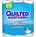 Quilted Northern  Ultra Soft & Strong Toilet Paper with CleanStretch, Pack of 12 Double Rolls, Equivalent to 24 Regular Rolls