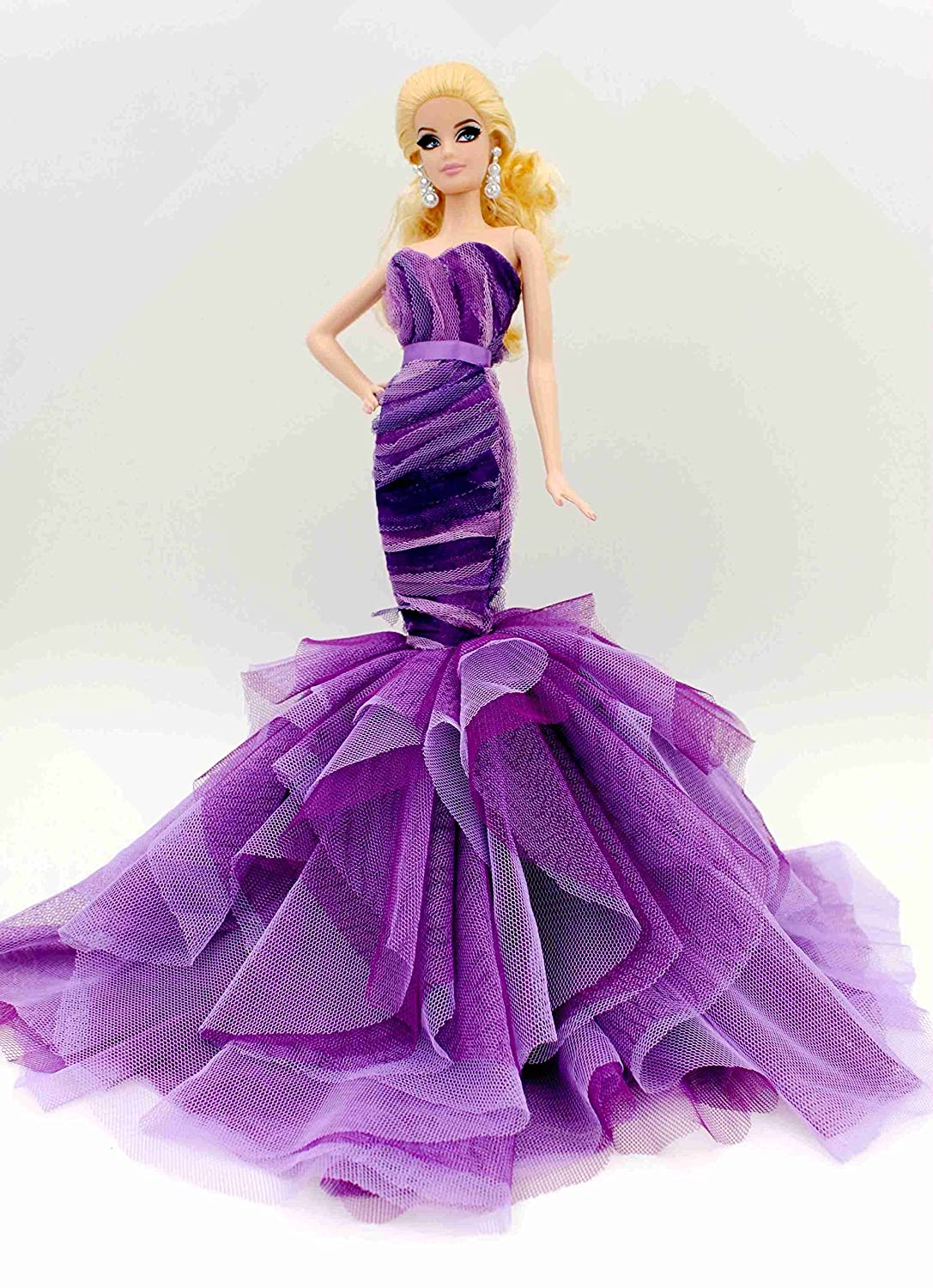 best [Fit Barbie Doll] Cora Gu Handmade Purple Layers Princess ...