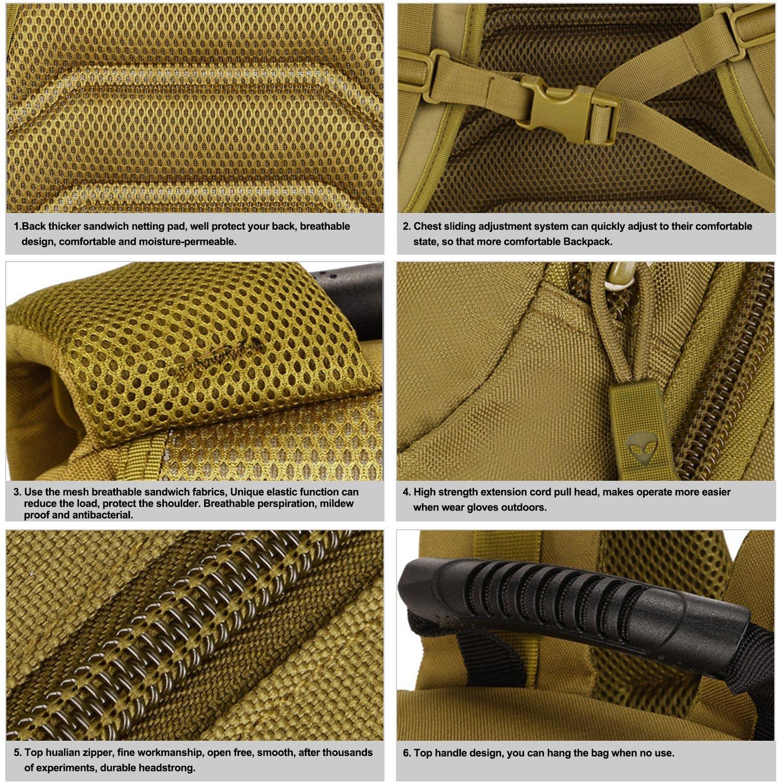 Zoweetek® Camouflage Militaire Armée Sac à dos multifonctionnel US assault pack 40L MOLLE Multicolore