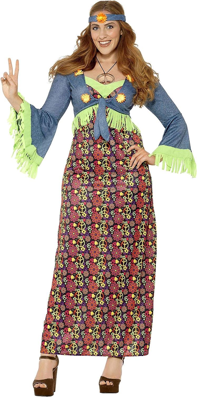 Smiffys Disfraz de Hippie con Curvas para Mujer,, Vestido, Chaleco ...