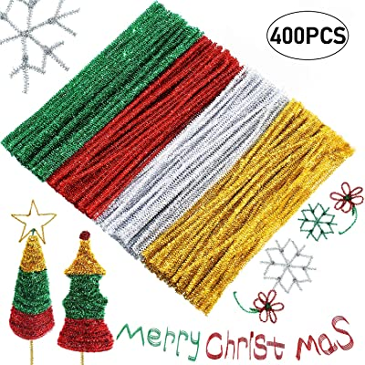 WILLBOND 400 Pieces Valentine's Day Pipe Cleaners Craft Chenille Stems Glitter Chenille Stems Creative Arts for Valentine's Day Weeding Decoration, 12 Inches (Red, Gold, Silver, Green): Arts, Crafts & Sewing