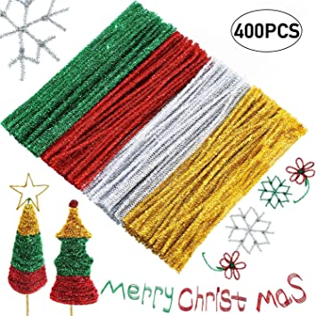 6 mm x 12 inch Patricks Day Chenille Stem Green Pipe Cleaner for Craft DIY Art Supplies Caydo 400 Pieces St
