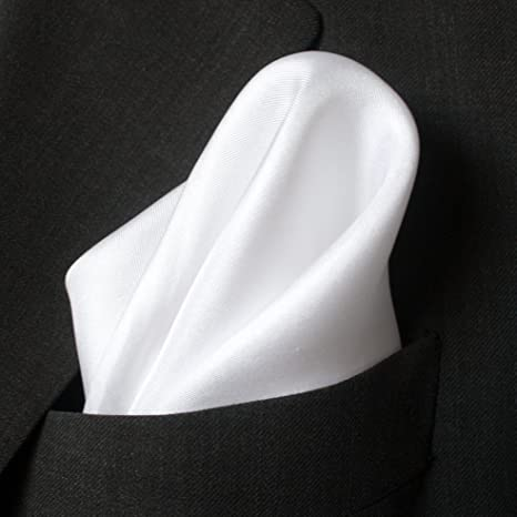 Fine White Silk Mens Pocket Squares