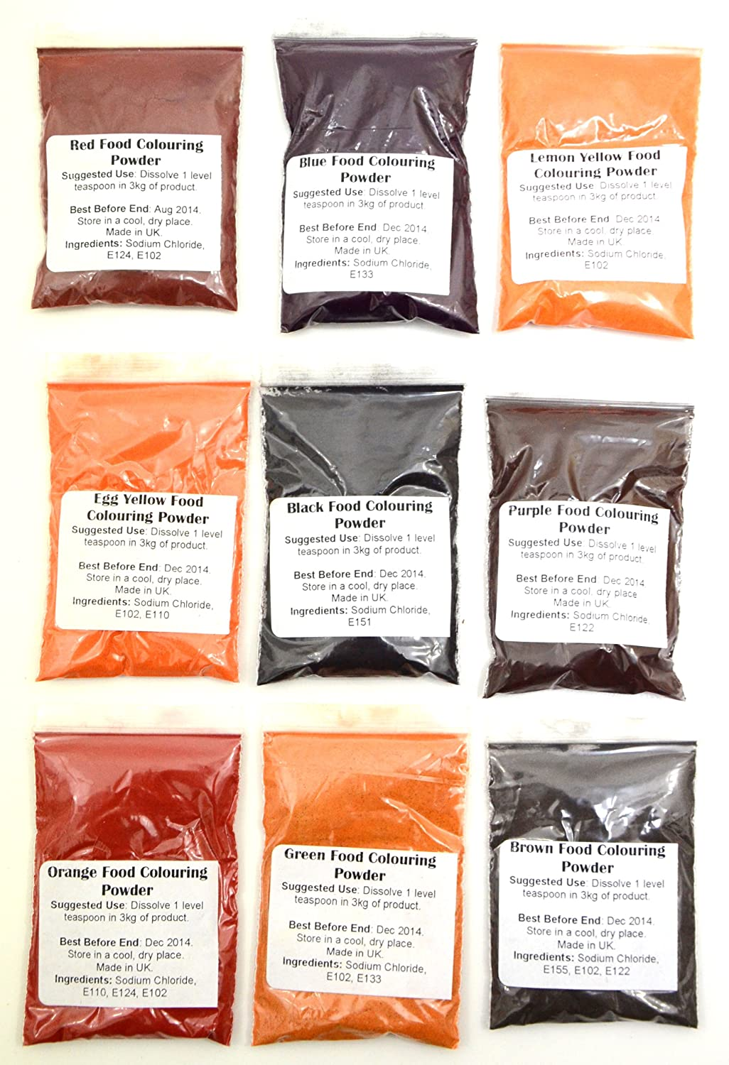 5 pack of food colouring powder: Amazon.co.uk: Grocery