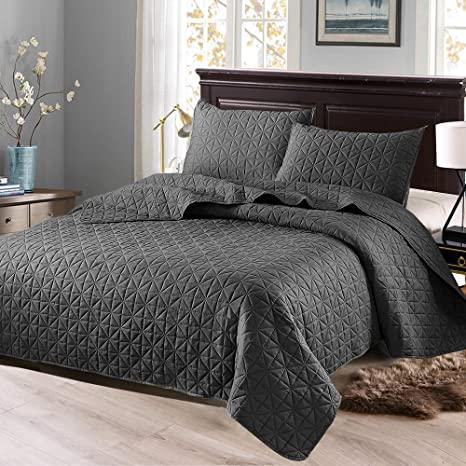 Exclusivo Mezcla 3 Piece King Size Quilt Set With Pillow Shams As Bedspread Coverlet Bed Cover Solid Steel Grey Soft Lightweight Reversible And Hypoallergenic Kitchen Dining