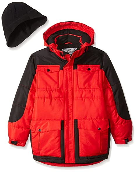 Rothschild Big Boys' Heavyweight Coat with Hat, Red, Large/14-16